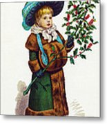 Girl With Holly Metal Print