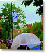 Girl With Large Umbrella Its Raining Its Pouring April Showers Montreal Scenes Carole Spandau Art Metal Print