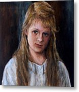 Girl With Long Brown Hair Metal Print