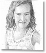 Girl With Necklace Pencil Portrait Metal Print