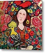 Girl with red hat and yellow bird Metal Print