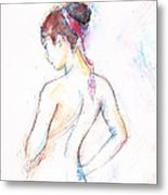Girl With Red Scarf Metal Print