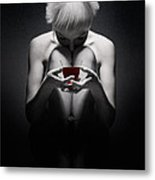Girl With Red Wine Metal Print