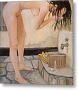 Girl With The Golden Towel Metal Print