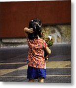 Girl With Toy Dog Metal Print