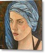 Girl With Turban Metal Print