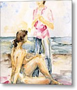 Girlfriends At The Beach Metal Print