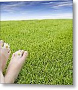Girls Feet On Grass With Flowers Metal Print