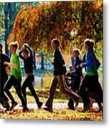 Girls Jogging On An Autumn Day Metal Print