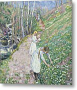 Girls Picking Wood Anemone Metal Print