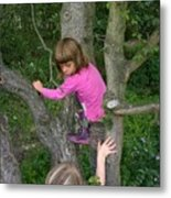 Girls Playing In A Tree Metal Print