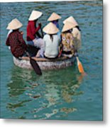 Girls With Conical Hats In Bamboo Metal Print