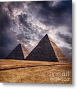 Giza Pyramids In Cairo Egypt Metal Print