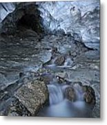 Glacial Creek Flowing From Blue Ice Metal Print