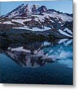 Glacial Rainier Morning Reflection Metal Print
