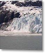 Glacier Falling Into Bay Metal Print
