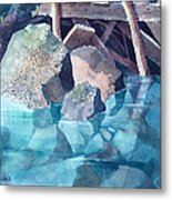 Glacier Stream Rocks Metal Print