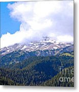 Glaciers In The Clouds. Mt. Rainier National Park Metal Print