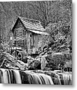 Glade Creek In Black And White Metal Print