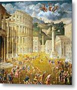 Gladiators Fighting Metal Print