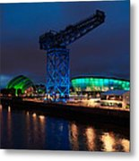 Glasgow - River Clyde At Night Metal Print