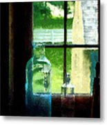 Glass Bottles On Windowsill Metal Print
