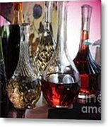 Glass Decanters And Glasses Metal Print