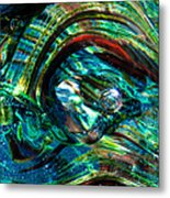 Glass Macro - Blue Green Swirls Metal Print