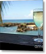 Glass Of Fresh Wine By Tropical Beach Metal Print