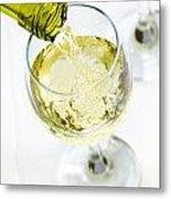 Glass Of White Wine Being Poured Metal Print