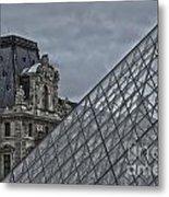 Glass Pyramid And Louvre Museum Paris Metal Print