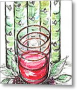 Glass Rosy Wine Metal Print