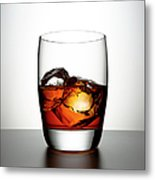Glass With Brown Liquor And Ice Cubes Metal Print