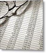Glasses On Spreadsheet Metal Print