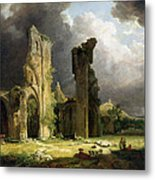 Glastonbury Abbey With The Tor Metal Print