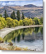 Glendhu Bay Lake Wanaka With Autumnal Trees Metal Print