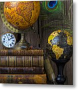Globes And Old Books Metal Print