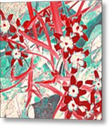 Glory Of The Snow - Red And Turquoise Metal Print