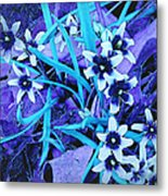 Glory Of The Snow - Violet And Turquoise Metal Print