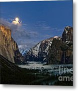 Glow - Moonrise Over Yosemite National Park. Metal Print