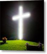 Glowing Cross Metal Print