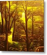 Glowing Evening Falls-original Sold- Buy Giclee Print Nr 28 Of Limited Edition Of 40 Prints   Metal Print