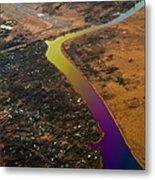 Glowing River. Rainbow Earth Metal Print
