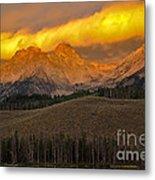 Glowing Sawtooth Mountains Metal Print