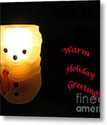 Glowing Snowman Metal Print