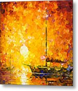 Glows Of Passion - Palette Knife Oil Painting On Canvas By Leonid Afremov Metal Print