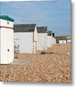 Glyne Gap Beach Huts In Sussex Metal Print