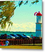 Go Fly A Kite Off A Short Pier Lachine Lighthouse Summer Scene Carole Spandau Montreal Art  Metal Print