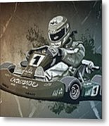 Go-kart Racing Grunge Monochrome Metal Print