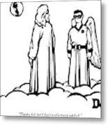 God Overlooks Earth Next To A Robin-like Angel Metal Print